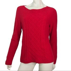 Talbots Red Wool Sweater Boat Neck Large